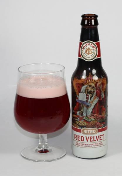 Ballast Point Red Velvet on Nitro in a Tulip Beer Glass