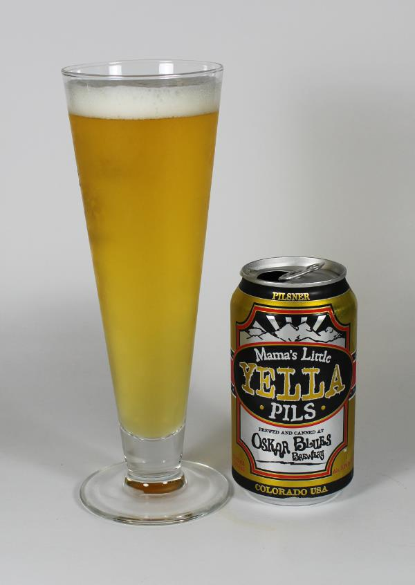 Mama's Little Yella Pils in a Pilsner Glass