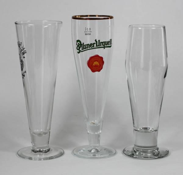 Three Stemmed Pilsner Glasses