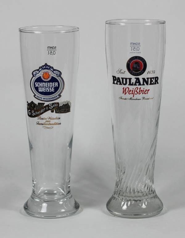 Pauliner and Schnieder Weisse Glasses